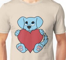 Valentine's Day Blue Dog with Red Heart Unisex T-Shirt