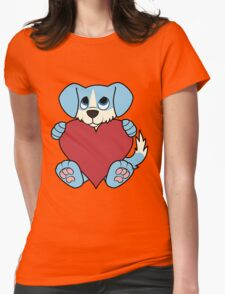 Valentine's Day Blue Dog with Blaze & Red Heart Womens Fitted T-Shirt