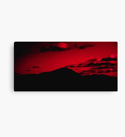 A Mountain Under Red Sunset Canvas Print