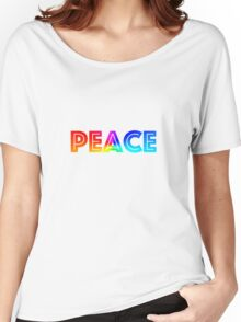 PEACE TEXT Women's Relaxed Fit T-Shirt