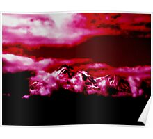 Mystical Mount Shasta in Red Poster