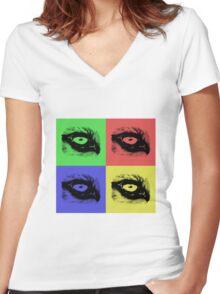 Mc Wolfie Pop Art Women's Fitted V-Neck T-Shirt