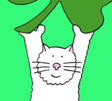 St Patrick's Day Cat with shamrock. Sticker