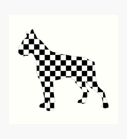Racing Checkered Flag Cane Corso Mastiff Design Black and White Check Racer Dog Pattern 2 Art Print