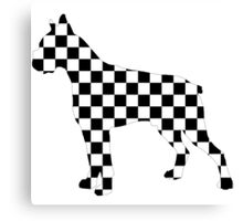 Racing Checkered Flag Cane Corso Mastiff Design Black and White Check Racer Dog Pattern 2 Canvas Print