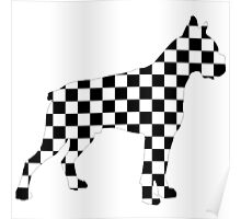 Racing Checkered Flag Cane Corso Mastiff Design Black and White Check Racer Dog Pattern 1 Poster
