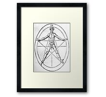 Pentagram and Human body Framed Print