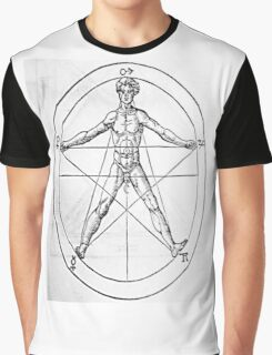 Pentagram and Human body Graphic T-Shirt