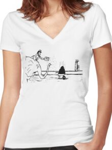 Zoo Humour - Cartoon 0004 Women's Fitted V-Neck T-Shirt