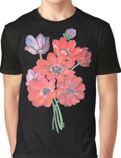 A Posy Of Wild Red And Lilac Anemone Coronaria Isolated  Graphic T-Shirt