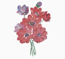 A Posy Of Wild Red And Lilac Anemone Coronaria Isolated  One Piece - Short Sleeve