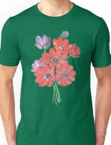 A Posy Of Wild Red And Lilac Anemone Coronaria Isolated  Unisex T-Shirt