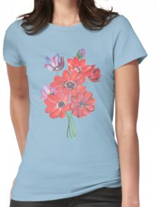 A Posy Of Wild Red And Lilac Anemone Coronaria Isolated  Womens Fitted T-Shirt