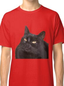 Relaxed Black Cat Portrait Vector Isolated Classic T-Shirt