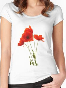 Delicate Red Poppies Vector Women's Fitted Scoop T-Shirt