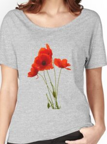 Delicate Red Poppies Vector Women's Relaxed Fit T-Shirt