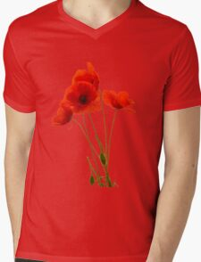 Delicate Red Poppies Vector Mens V-Neck T-Shirt