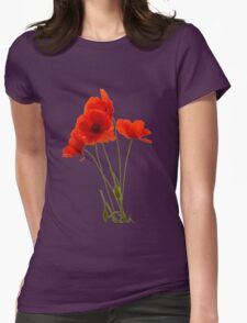 Delicate Red Poppies Vector Womens Fitted T-Shirt