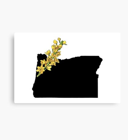 Oregon Silhouette and Flower Canvas Print