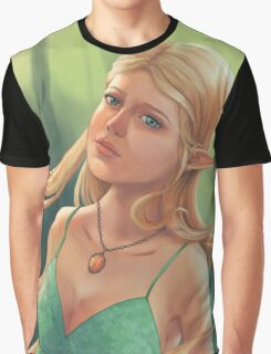 Charlotte - Fantasy Elf Portrait Graphic T-Shirt