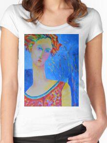 Female portraiture unique oil painting Women's Fitted Scoop T-Shirt