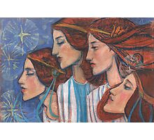 Tribute to Art Nouveau, pastel painting, fine art, redhaired girls Photographic Print