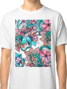 Boho turquoise pink floral watercolor illustration Classic T-Shirt
