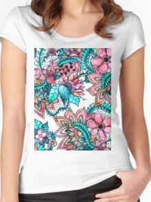 Boho turquoise pink floral watercolor illustration Women's Fitted Scoop T-Shirt