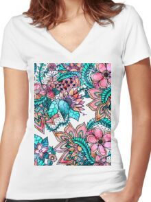 Boho turquoise pink floral watercolor illustration Women's Fitted V-Neck T-Shirt