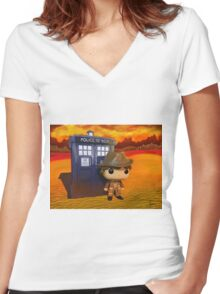 4th Doctor On Gallifrey Women's Fitted V-Neck T-Shirt
