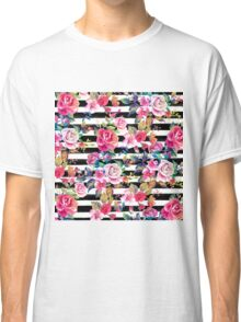 Cute spring floral and stripes watercolor pattern Classic T-Shirt