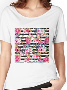 Cute spring floral and stripes watercolor pattern Women's Relaxed Fit T-Shirt