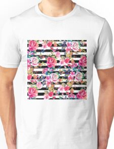 Cute spring floral and stripes watercolor pattern Unisex T-Shirt