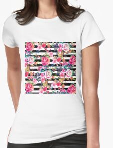 Cute spring floral and stripes watercolor pattern Womens Fitted T-Shirt