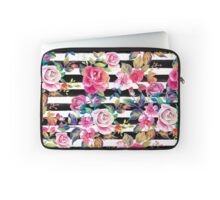 Cute spring floral and stripes watercolor pattern Laptop Sleeve