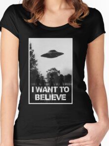 X Files I Want to Believe Women's Fitted Scoop T-Shirt