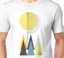 Geometric - yellow moon mountains Unisex T-Shirt