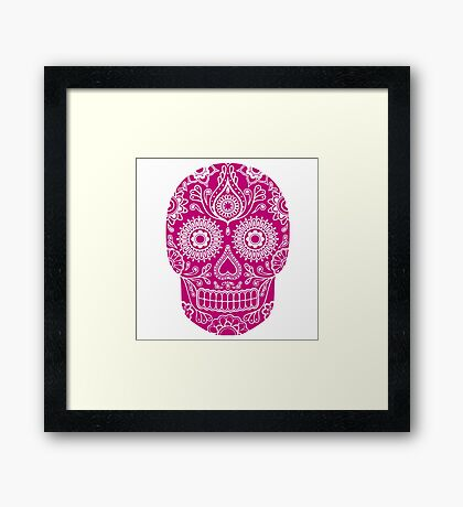 mexican skull mask Framed Print