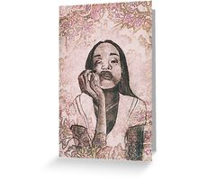 Girl with apple Greeting Card
