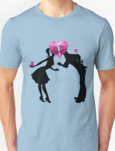 Valentine Couple Silhouettes with Heart Balloon T-Shirt