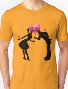 Valentine Couple Silhouettes with Heart Balloon Unisex T-Shirt