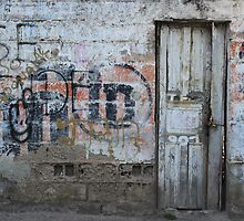 Old White Door in a Wall by rhamm