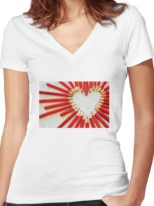 To the heart (texture) Women's Fitted V-Neck T-Shirt