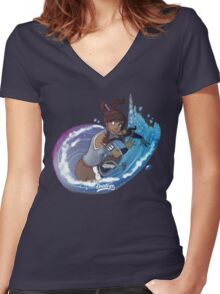 Avatar Korra Women's Fitted V-Neck T-Shirt