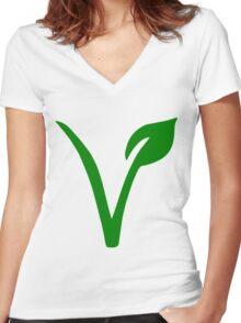 Vegetarian Symbol Women's Fitted V-Neck T-Shirt