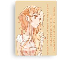 Yuuki Asuna Quote Canvas Print