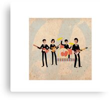 Sixties Style rock band playing music. Canvas Print