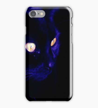 Black Cat With Haunting Halloween Eyes iPhone Case/Skin