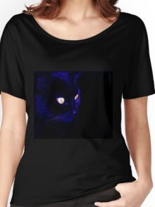 Black Cat With Haunting Halloween Eyes Women's Relaxed Fit T-Shirt