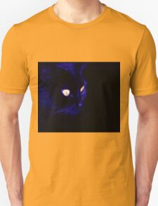 Black Cat With Haunting Halloween Eyes Unisex T-Shirt